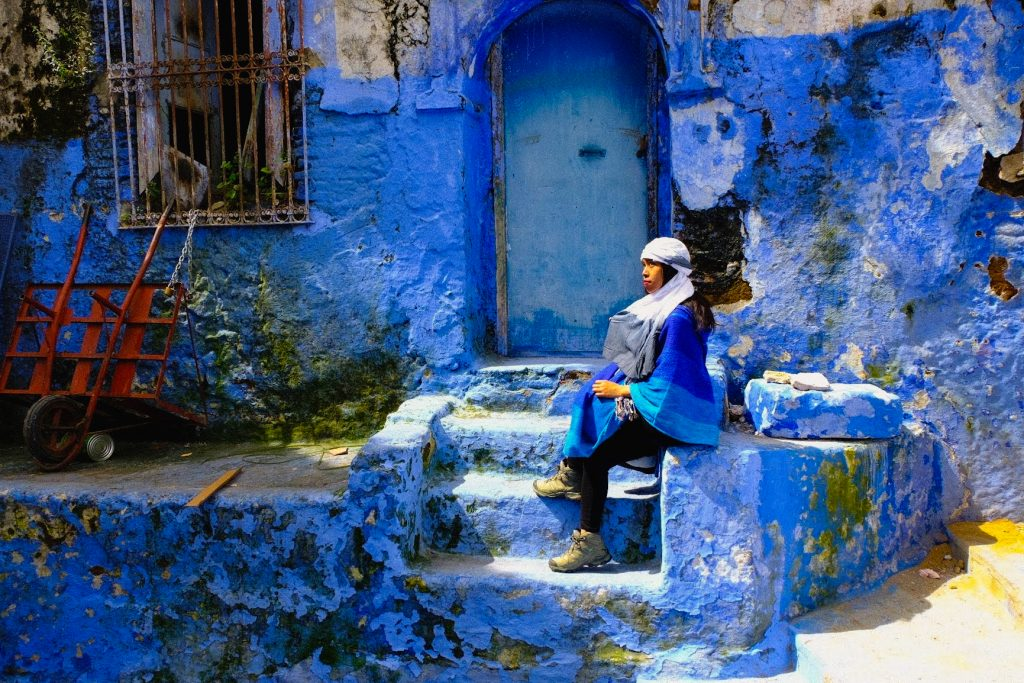 Wearing blue in Chefchaouen, Morocco